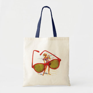 RETRO SUMMER BEACH BAGS TOTE BAG RED SUNGLASSES