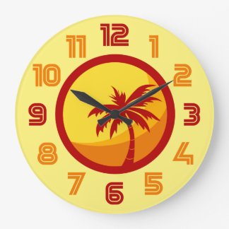 Retro Summer Beach Palm Tree Heatwave Clock