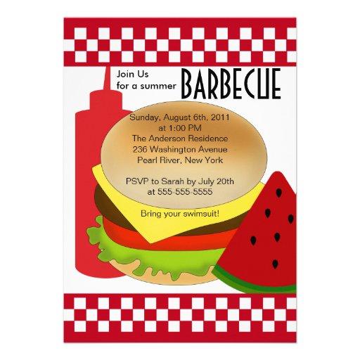 Retro Summer Party Barbecue Invitation BBQ