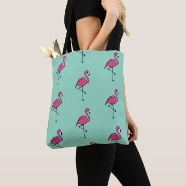 Beach Themed Retro Summer Pink Flamingo Beach Tote Bag Gift
