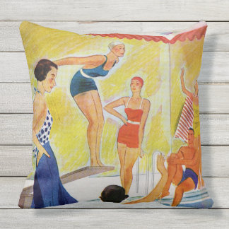Retro Sunbathers In Pool, Swimming Bathing Caps Outdoor Pillow
