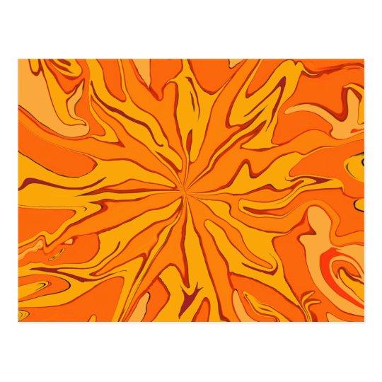 Retro sunburst orange postcard