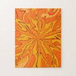 Retro sunburst orange puzzle