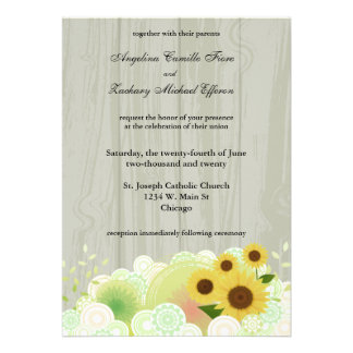 Retro Sunflower Formal Wedding Invitation