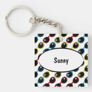 Retro Sunglasses Primary Double-Sided Square Acrylic Keychain