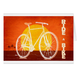 Retro Sunset Bicycle - Ride a Bike Card