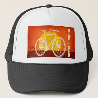 Retro Sunset Bicycle - Ride a Bike Trucker Hat
