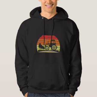 Retro Sunset Tractor Farming Agriculture Hoodie