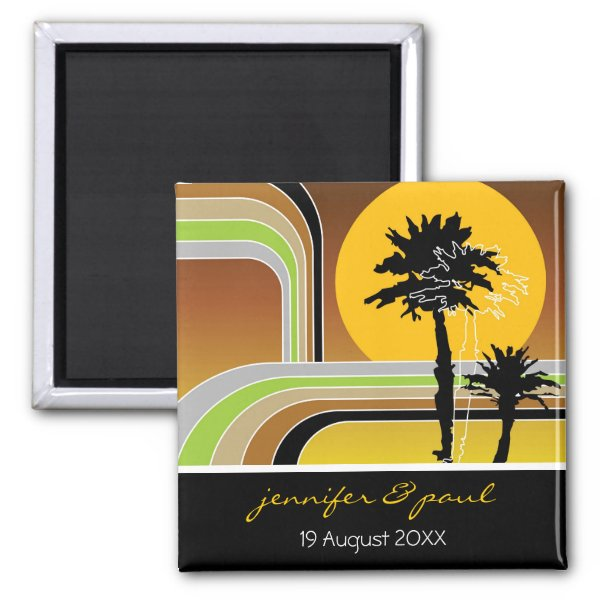 Retro Sunset Tropical Holiday Save The Date Magnet