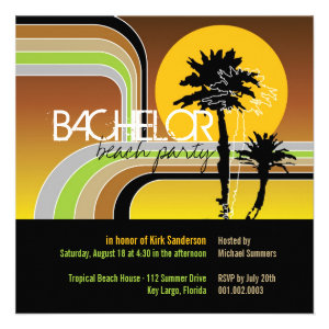 Retro Sunset Tropical Palm Tree Bachelor Party Personalized Invite