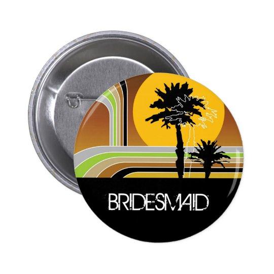 Retro Sunset Tropical Palm Trees Wedding Name Tag Pinback Button