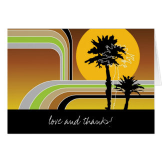 Retro Sunset Tropical Palm Trees Wedding Thank You Stationery Note Card