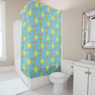 Retro Sunshine Lounge Chair Beach Ball Umbrella Shower Curtain