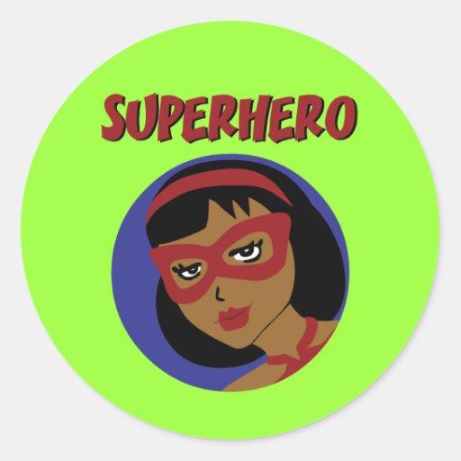 Retro Superhero Classic Round Sticker