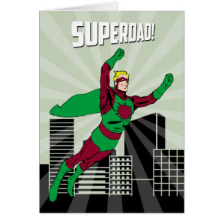 Retro Superhero Dad in the Air for Father's Day Greeting Card