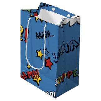 Retro Superhero Kids Pattern Medium Gift Bag