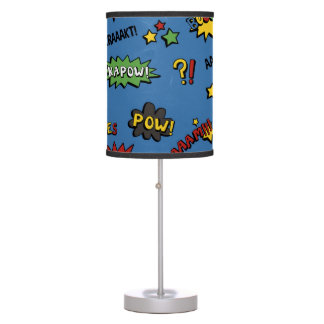 Retro Superhero Kids Pattern Table Lamp