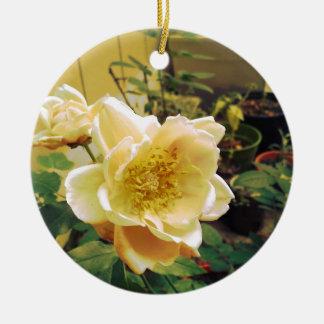 Retro Supersaturated Rose Photography Ceramic Ornament