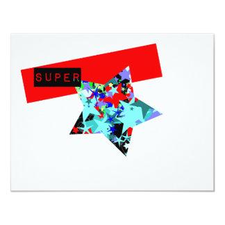 """Retro Superstar In Day-Glo 4.25"""" X 5.5"""" Invitation Card"""