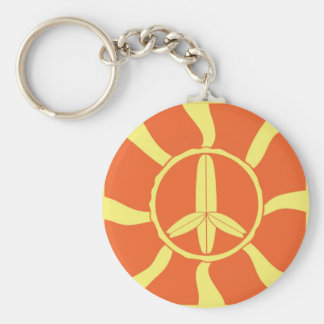 Retro Surfboard Peace Sign Keychain