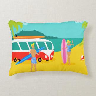 Retro Surfer Couple Accent Pillow
