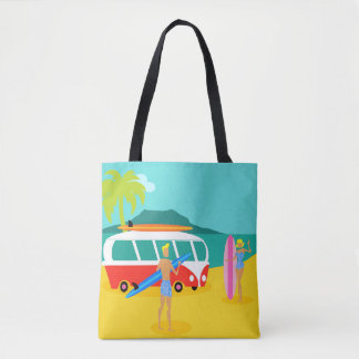 Retro Surfer Couple All-Over Printed Tote Bag