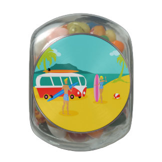 Retro Surfer Couple Candy Jar Jelly Belly Candy Jars