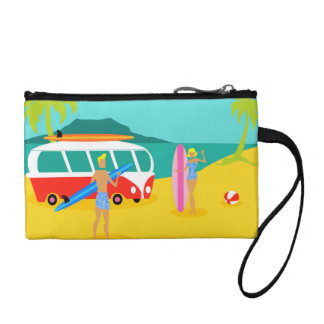 Retro Surfer Couple Key Coin Clutch Coin Wallet