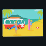 """Retro Surfer Couple Laminated Placemat<br><div class=""""desc"""">Every day can be a day at the beach with this Retro Surfer Couple Laminated Placemat. The 1960&#39;s style, minimalist art design features a fun-loving, sun worshiping, thrill seeking couple all ready to catch a wave. The setting is a tropical, island oasis with a beach of golden sand, swaying, green...</div>"""