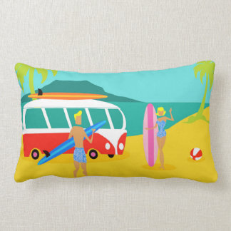 Retro Surfer Couple Lumbar Pillow