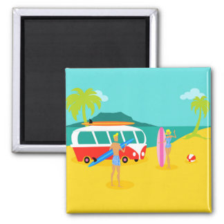 Retro Surfer Couple Magnet