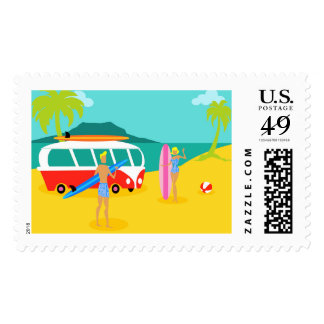 Retro Surfer Couple Postage Stamps