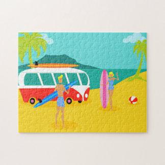 Retro Surfer Couple Puzzle
