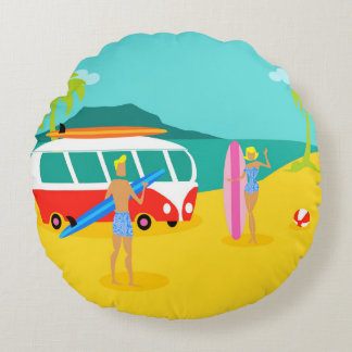 Retro Surfer Couple Round Pillow