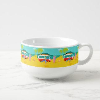 Retro Surfer Couple Soup Mug