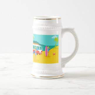 Retro Surfer Couple Stein