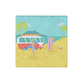 Retro Surfer Couple Stone Magnet