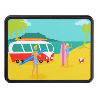 Retro Surfer Couple Trailer Hitch Cover