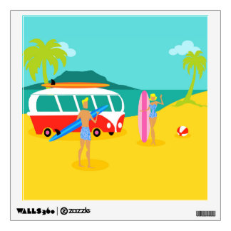Retro Surfer Couple Wall Decal