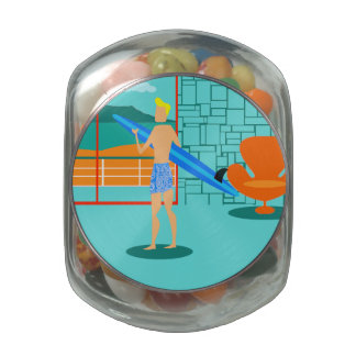 Retro Surfer Dude Candy Jar Jelly Belly Candy Jars