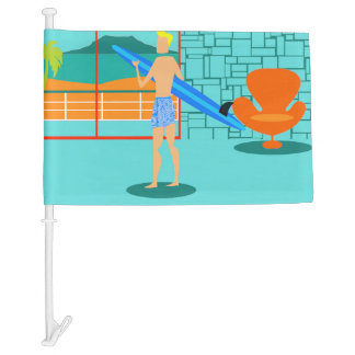 Retro Surfer Dude Car Flag