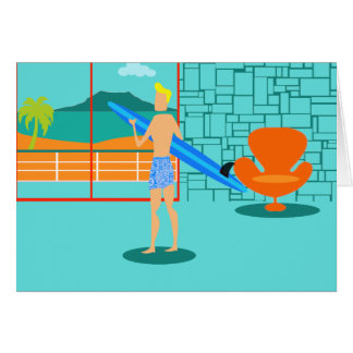 Retro Surfer Dude Greeting Card