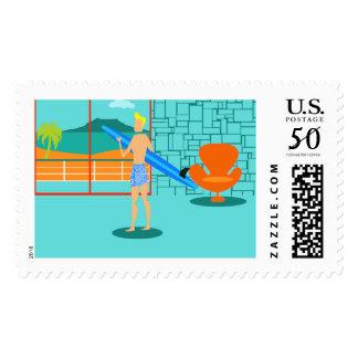 Retro Surfer Dude Postage Stamps