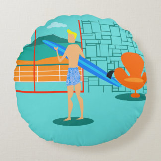 Retro Surfer Dude Round Pillow