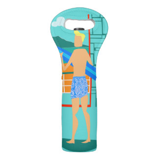 Retro Surfer Dude Wine Tote
