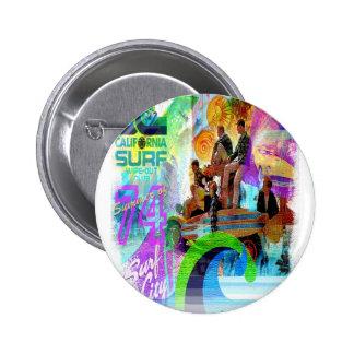 Retro Surfing Badge Button
