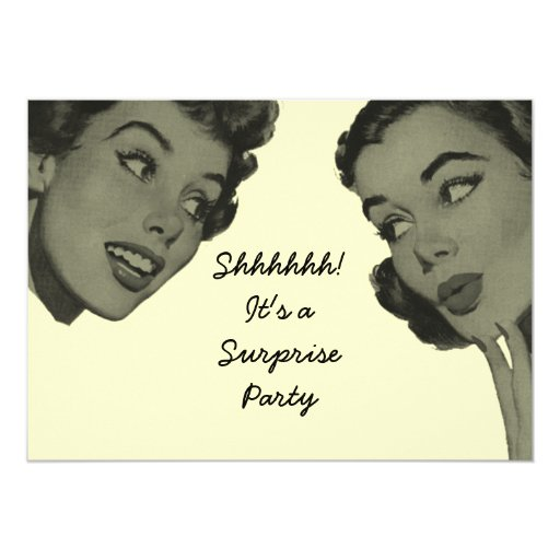 Retro Surprise Party 2 5x7 Paper Invitation Card