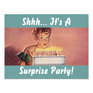 Retro Surprise Party Gal Birthday Cake Invitations