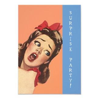 """Retro Surprise Party Invitations Fun Expression 3.5"""" X 5"""" Invitation Card"""