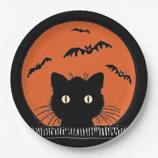 """Retro Surprised Black Cat Halloween 9""""Paper Plate"""